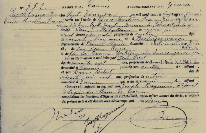 Acte de déces - Tinco Martinus Lycklama - 07-12-1900 - Cannes