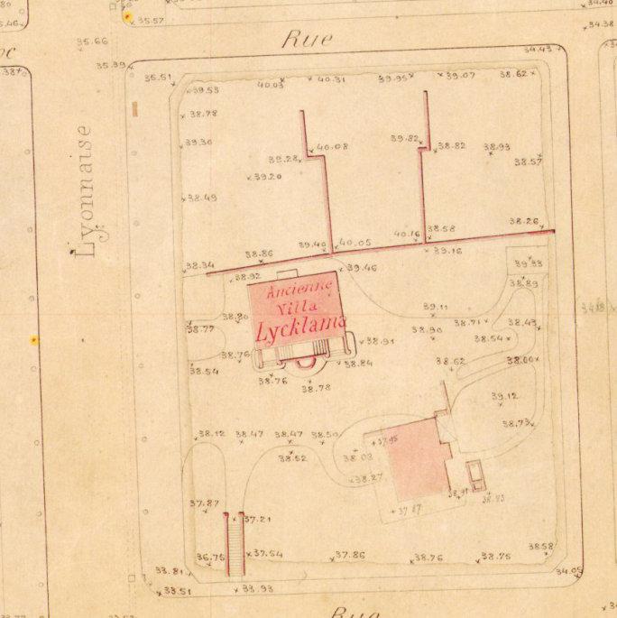 Ancienne Villa Lycklama (Escarras) - Plan régulateur 1884
