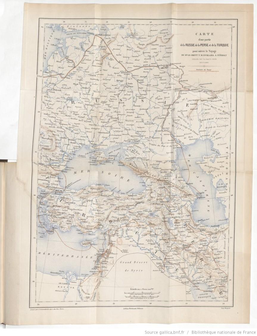 Carte d'une partie de la Russie, de la Perse et de la Turquie, par V.A. Malte-Brun, 1872