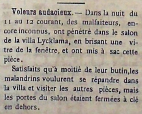 Burglary at Villa Lycklama 11 December 1900 - Courier de Cannes 15-12-1900 A