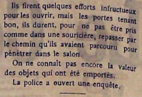 Burglary at Villa Lycklama 11 December 1900 - Courier de Cannes 15-12-1900 B