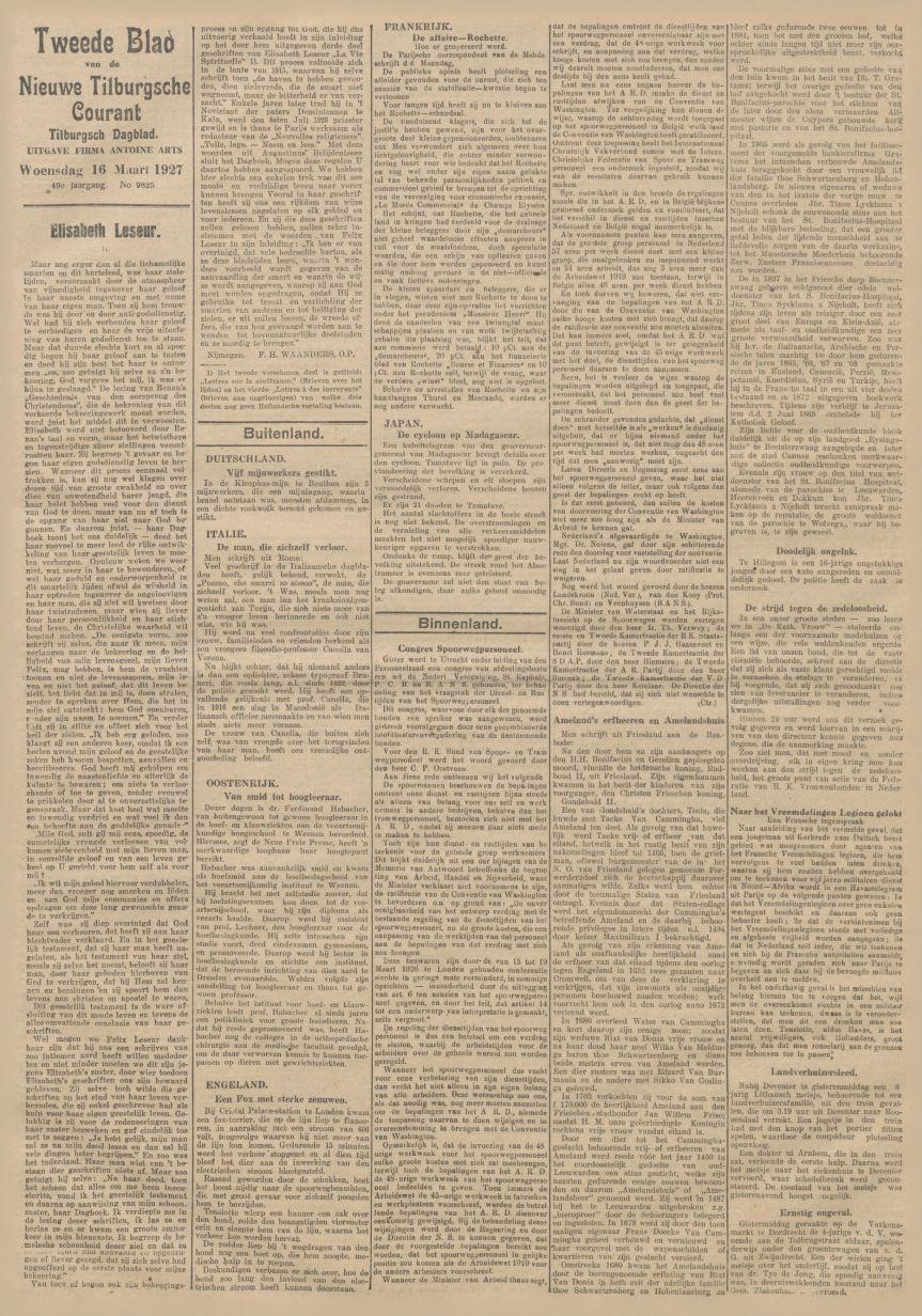 Nieuwe Tilburgsche Courant – 16 March 1927