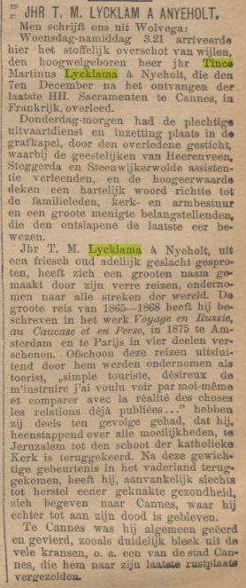 De Tijd 16-12-1900 - Reporting the inhumation of Tinco at Wolvega