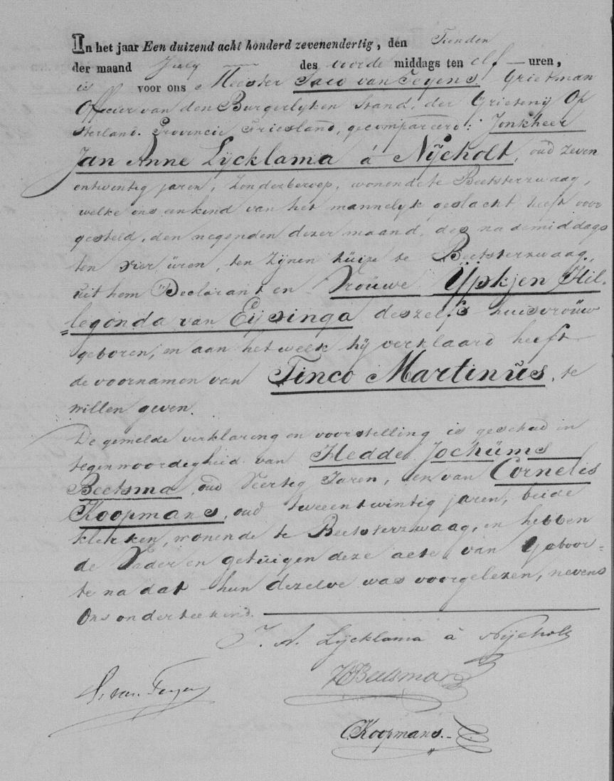 Geboorte Tinco Martinus Lycklama - 09-07-1837 - Beetsterzwaag