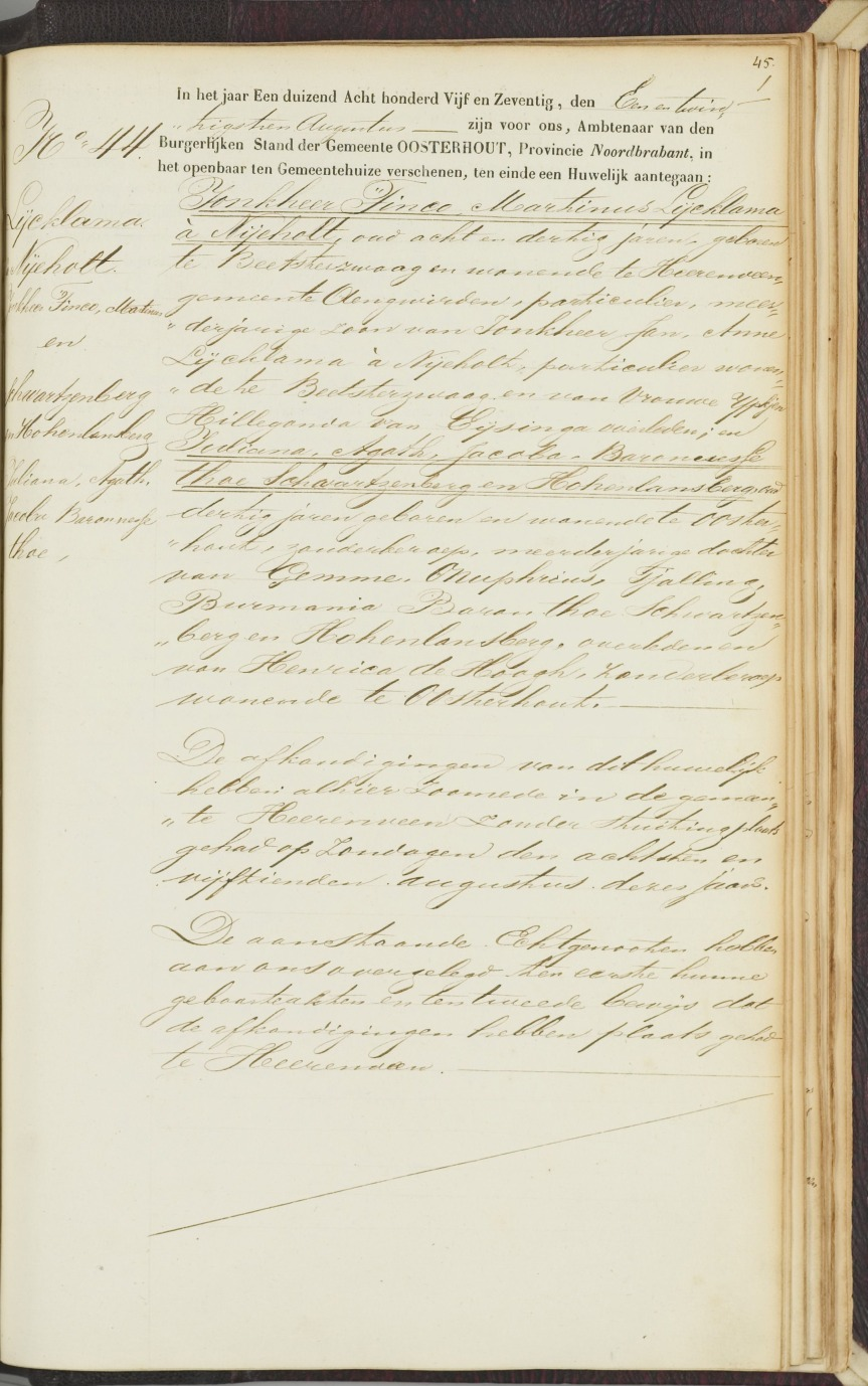 Huwelijksakte Tinco Martinus Lycklama en Agatha thoe Schwartzenberg - 21 augustus 1875 te Oosterhout - Recto