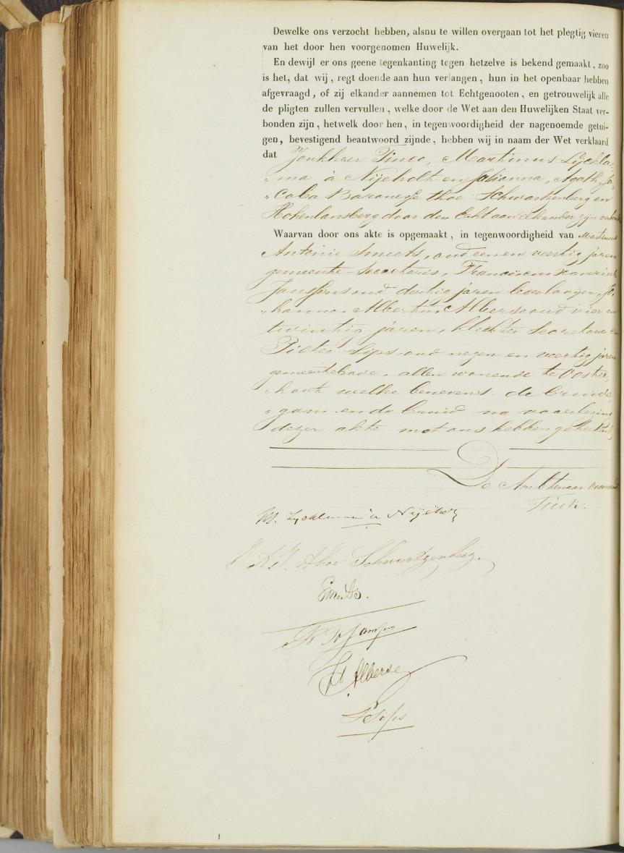 Huwelijksakte Tinco Martinus Lycklama en Agatha thoe Schwartzenberg - 21 augustus 1875 te Oosterhout - Verso