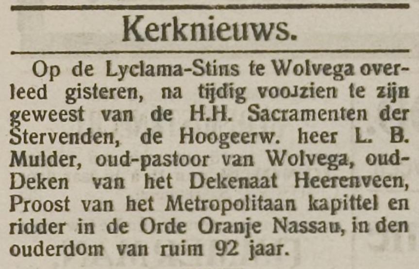 Leidsche Courant 13-01-1912 - Death Notice Lucas Bernardus Mulder
