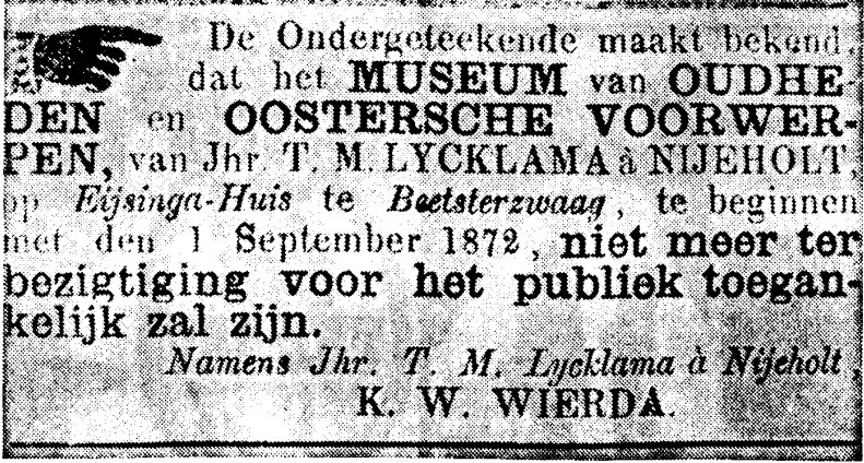 Leeuwarder Courant, 5 May 1872 – Closure of Lycklama Museum at Beetsterzwaag