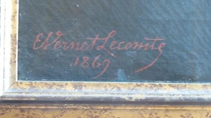 """Tinco Lycklama portrait (1869) - bottom left, """"E. Vernet Lecomte 1869"""""""