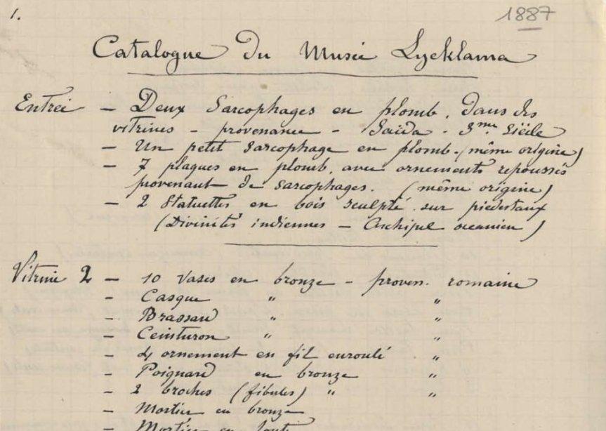 Catalogue du Musée Lycklama - 1887