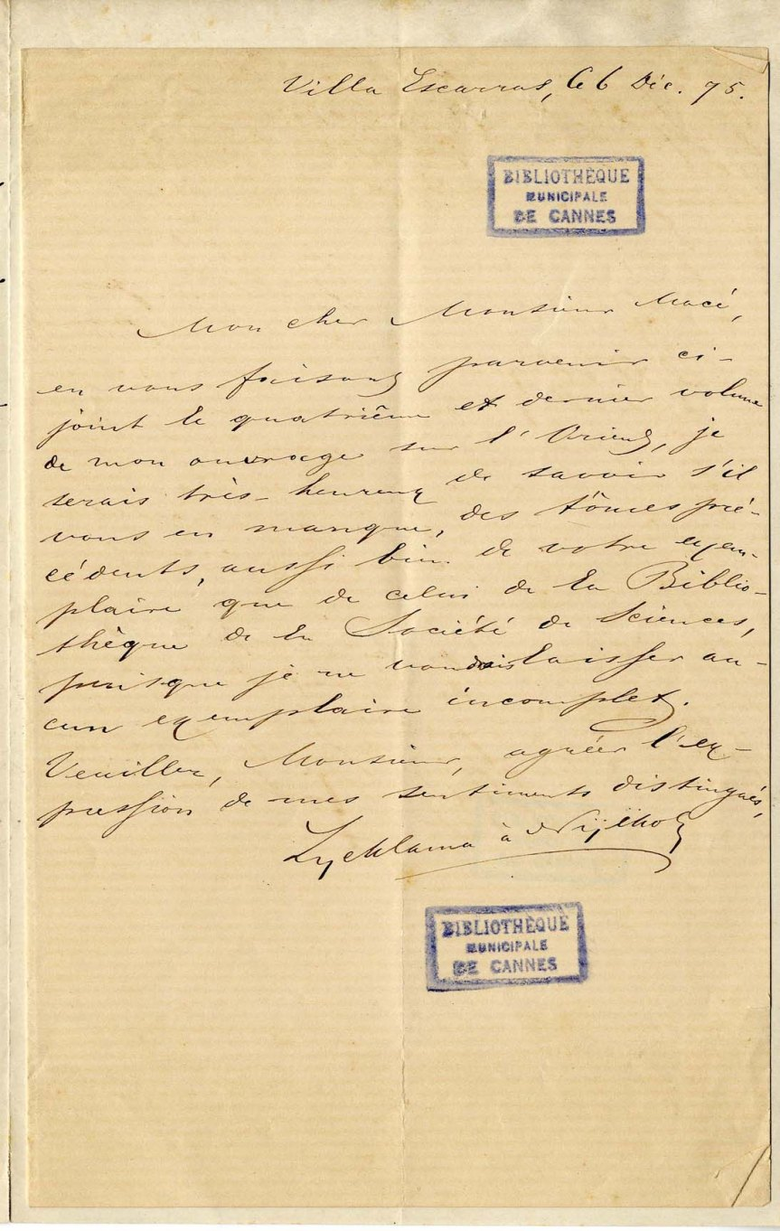 Manuscript Letter by Tinco Lycklama to Cannes mayor Macé - 6 December 1875