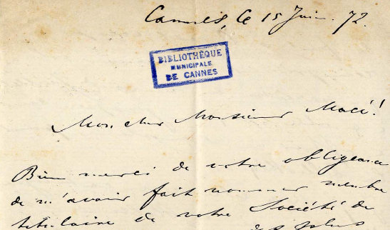 Manuscript letter to Jean Macé - 15 June 1872
