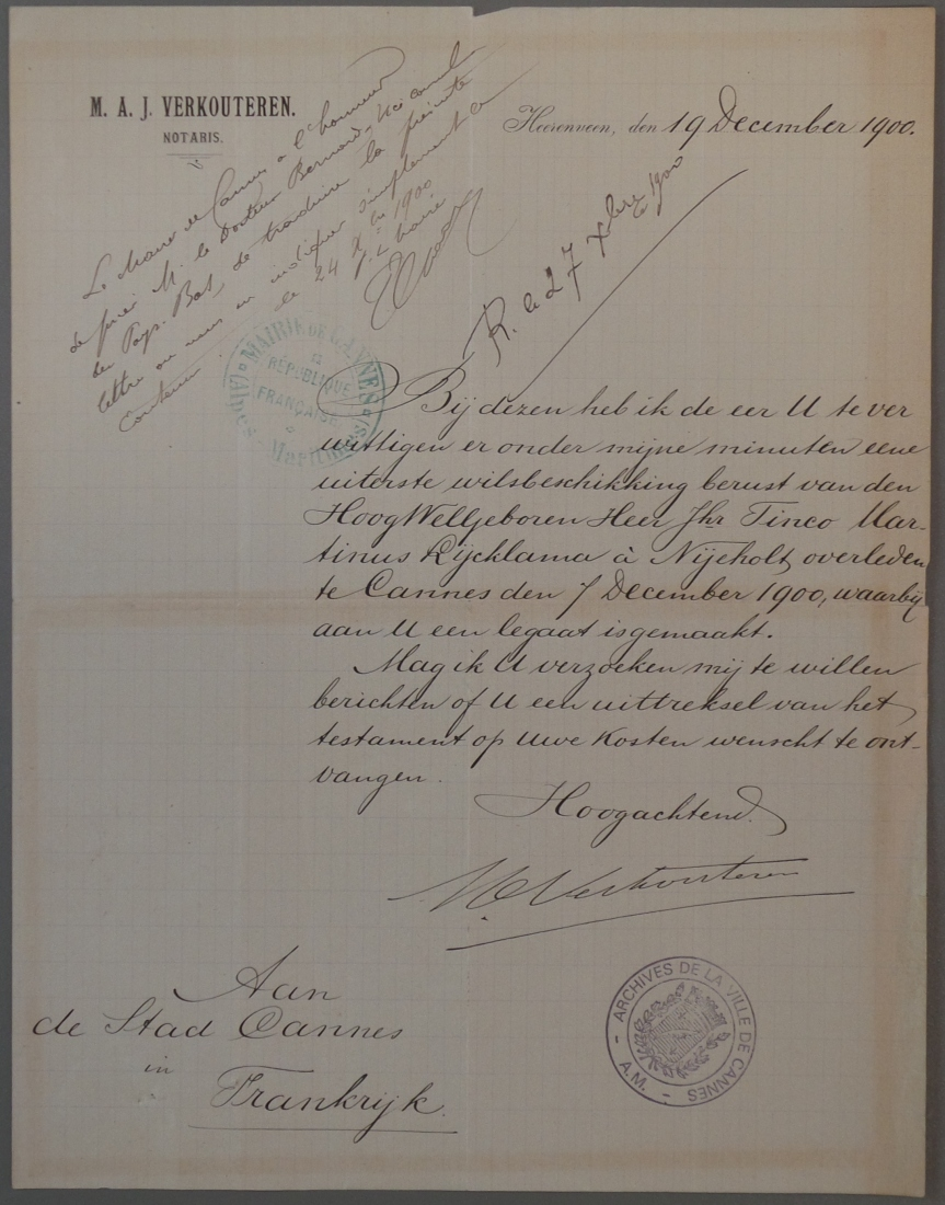 19-12-1900 - Letter of notary M.A.J. Verkouteren from Heerenveen to the City of Cannes