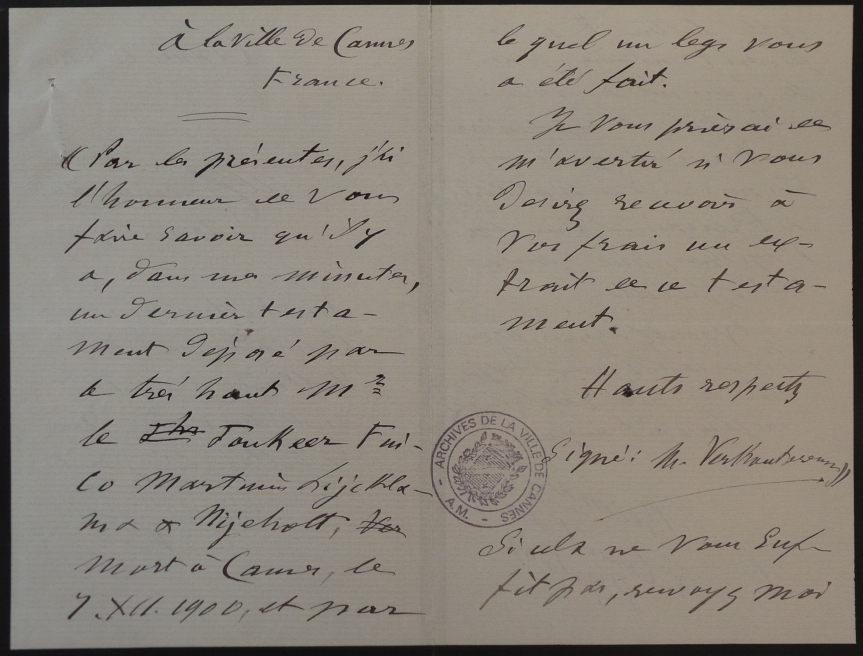29-12-1900 - Translation of the Verkouteren letter by Vice-Consul Bernard in Cannes - Pages 2-3