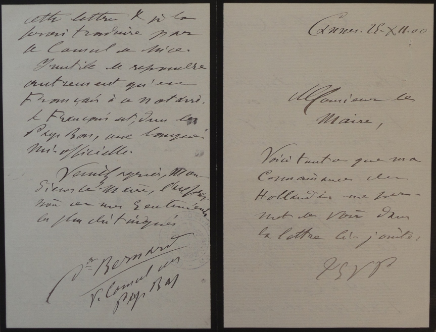 29-12-1900 - Translation of the Verkouteren letter by Vice-Consul Bernard in Cannes - Pages 4-1