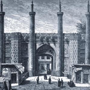 Qazvin caravanserai - drawing by Eugène Flandin ca. 1840