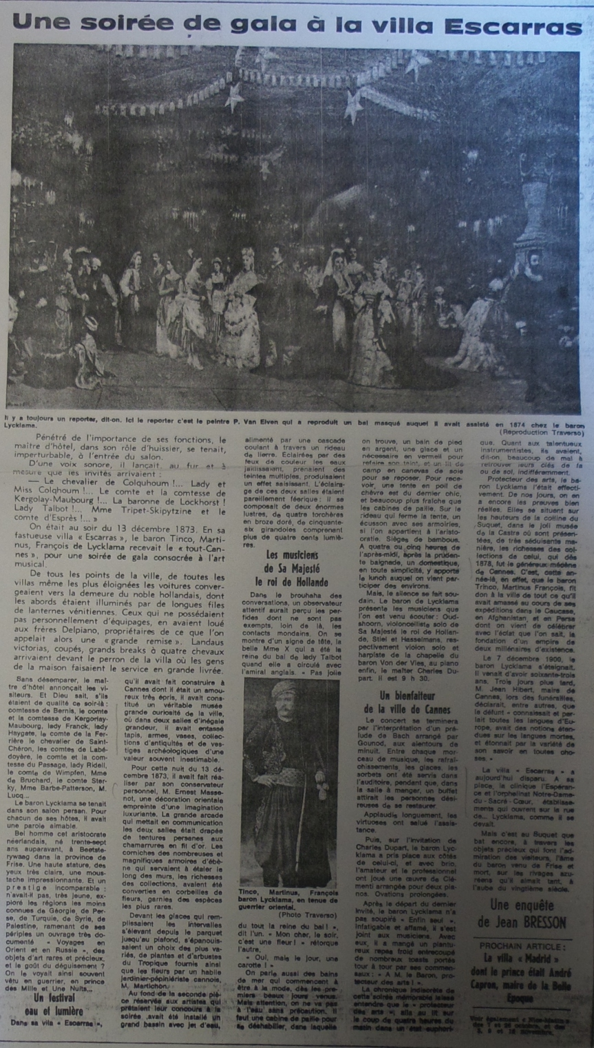 """""""Une soirée de gala à la villa Escarras"""", article published 23/11/1971 (Nice Matin?)"""