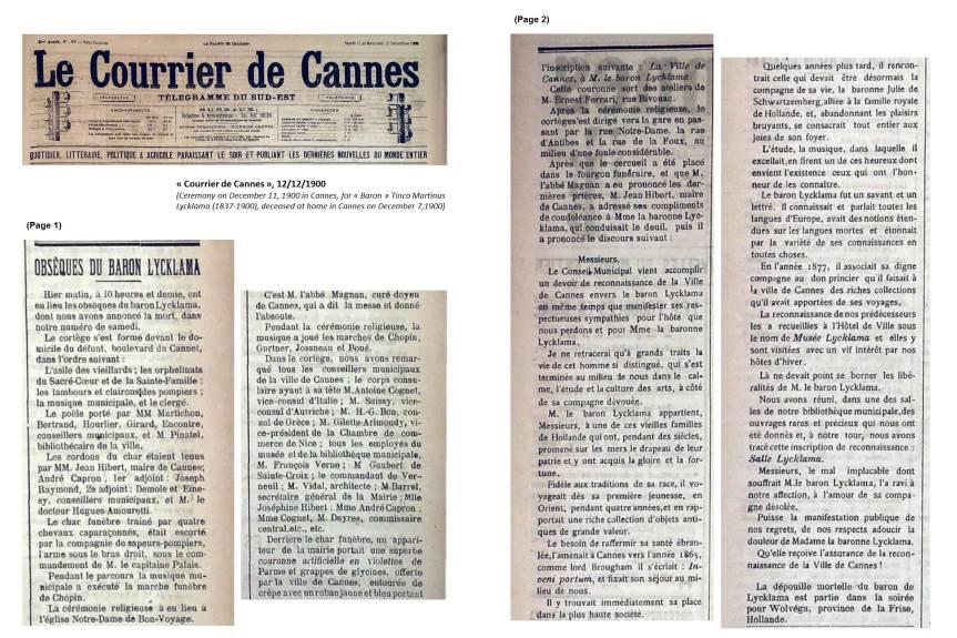 """""""Obsèques du Baron Lycklama"""", in Courrier de Cannes», 12/12/1900"""