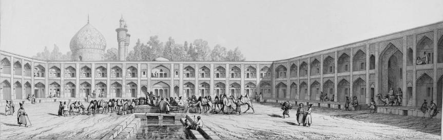 caravanserai-of-mader-e-shah-isfahan-pascal-coste-1841