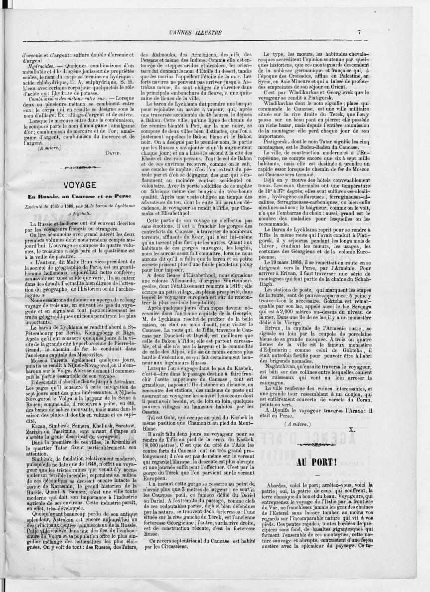 Cannes Illustré - 15 octobre 1874 - Article au sujet des trois premiers volumes du récit de voyage de Lycklama